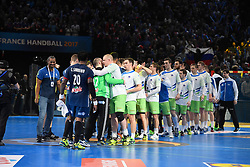 Slovenian team and french team after 25th IHF men's world championship 2017 match between France and Slovenia at Accord hotel Arena on january 26 2017 in Paris. France. PHOTO: CHRISTOPHE SAIDI / SIPA / Sportida