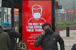 © Licensed to London News Pictures 03/03/2021. <br /> Bromley, UK. Coronavirus Transport for London advertising. People out and about in Bromley High Street in South East London today during a third national coronavirus lockdown. Non-essential shops could open in weeks if the Covid-19 infection rate keeps dropping. Photo credit:Grant Falvey/LNP