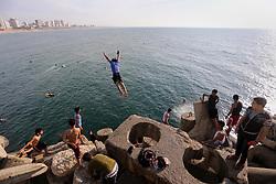May 5, 2017 - Gaza City, Gaza Strip, Palestinian Territory - A Palestinian youth jumps into the Mediterranean Sea at the Gaza seaport in Gaza City on May 5, 2017  (Credit Image: © Mohammed Asad/APA Images via ZUMA Wire)