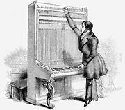 Tuning a Broadwood Cabinet piano. Wood engraving, London, 1842