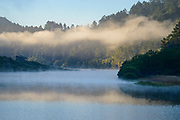 Morning fog blankets the Russian River on a summer morning near Duncan's Mills, California.
