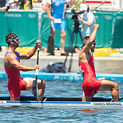 TOKYO, JAPAN August 3:  Fernando Dayan Jorge Enriquez and Serguey Torres Madrigal of Cuba winning the gold medal in the 1000m Canoe Double for men at the Sea Forest Waterwayduring the Tokyo 2020 Summer Olympic Games on August 3rd, 2021 in Tokyo, Japan. (Photo by Tim Clayton/Corbis via Getty Images)