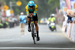 SUBANG, Aug. 24, 2018  Gold medalist Alexey Lutsenko of Kazakhstan competes to cross the finish line of the men's 40km individual time trial of cycling road event at the 18th Asian Games in Subang, West Java, Indonesia, Aug. 24, 2018. (Credit Image: © Agung Kuncahya B/Xinhua via ZUMA Wire)