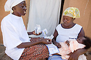 A community volunteer visits a mother and her child at their home with a medical kit. Northern Ghana, Thursday November 13, 2008.