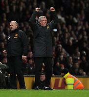 Sir Alex Ferguson Manager celebrates after the final whistle<br />Manchester United 2012/13<br />Manchester United V Newcastle United (4-3) 26/12/12<br />The Premier League<br />Photo: Robin Parker Fotosports International
