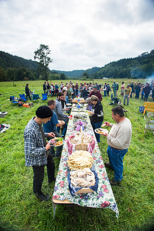 Farm to table dinner at the Nehalem River Ranch near Nehalem, Oregon.