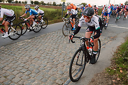 Demi Vollering (NED) dives into the gutter at the 2020 Ronde van Vlaanderen - Elite Women, a 135.6 km road race starting and finishing in Oudenaarde, Belgium on October 18, 2020. Photo by Sean Robinson/velofocus.com