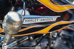 Detail of a custom Harley-Davidson at the Choppertime Old School Bike Show held at Willie's Tropical Tattoo during Daytona Bike Week. Ormond Beach, FL. USA. Thursday March 16, 2017. Photography ©2017 Michael Lichter.
