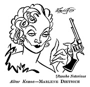 Punch cartoons by Robert Sherriffs..Film Review ; ..Rancho Notorious ;  Marlene Dietrich