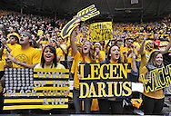 WICHITA, KS - JANUARY 18:  Wichita State Shockers fans cheer during a game against the Indiana State Sycamores on January 18, 2014 at Charles Koch Arena in Wichita, Kansas.  Wichita State defeated Indiana State 68-48. (Photo by Peter Aiken/Getty Images) *** Local Caption ***