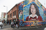A mural of Bobby Sands, a poet, prisoner, revolutionary and IRA volunteer, the most famous hunger striker who died in the H-block and became a martyr for the cause of the Irish Republican Army. This mural adorns the side of the building housing the Sinn Fein, political wing of the Republican, headquarters on Falls Road Belfast.