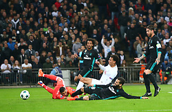 November 1, 2017 - London, United Kingdom - Tottenham Hotspur's Dele Alli scores his sides first goal  .during Champion League match between Tottenham Hotspur against Real Madrid  at Hotspur Way London on 1 Oct  2017  (Credit Image: © Kieran Galvin/NurPhoto via ZUMA Press)