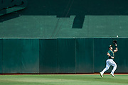 Oakland Athletics center fielder Mark Canha (20) catches a Los Angeles Angels fly ball at Oakland Coliseum in Oakland, California, on September 6, 2017. (Stan Olszewski/Special to S.F. Examiner)