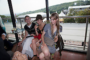 ROSIE CAMPBELL; OLIVIA GOLLNER; EDIE CAMPBELL;, Glorious Goodwood. Ladies Day. 28 July 2011. <br /> <br />  , -DO NOT ARCHIVE-© Copyright Photograph by Dafydd Jones. 248 Clapham Rd. London SW9 0PZ. Tel 0207 820 0771. www.dafjones.com.