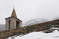 Rooftop and belltower of Italian church, La Bethaz, italy