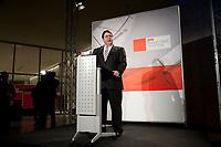 14 JAN 2010, BERLIN/GERMANY:<br /> Sigmar Gabriel, SPD Parteivorsitzender, haelt eine Rede, Neujahrsempfang der SPD Bundestagsfarktion, Fraktionsebene, Deutscher Bundestag<br /> IMAGE: 20100114-02-011