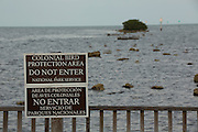 A sign asks visitors to avoid entering a area where colonial birds nest in Biscayne National Park, Florida.