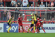 Scunthorpe United Midfielder, Matthew Lund (7) scores to make it 0-1 goal  during the EFL Sky Bet League 1 match between Accrington Stanley and Scunthorpe United at the Fraser Eagle Stadium, Accrington, England on 1 September 2018.
