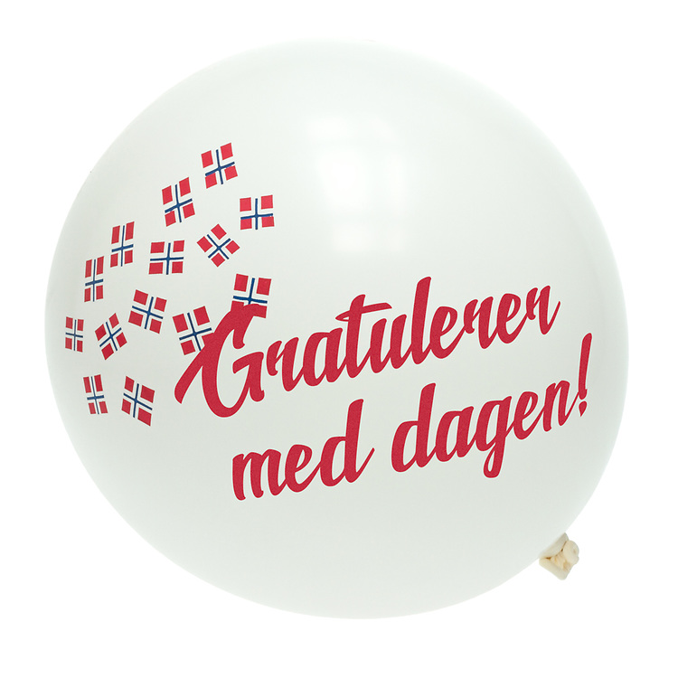 Hvit ballong med norske flagg, isolert mot hvit bakgrunn, og tekst 'Gratulerer med dagen!'.