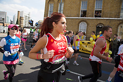 Virgin London Marathon 2013..Celebrity runners. Amy Childs at 21 miles, April 21, 2013. Photo by: Gavin Rodgers / i-Images