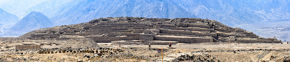Caral ( 2600 BCE and 2000 BCE) the most ancient city in the Americas. Supe valley. Peru. The site, which consists of six staggered pyramids and two squares for ceremonies UNESCO World Heritage site