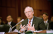 Independent Counsel Kenneth Starr testifies before the Senate Government Affairs Committee on reviewing the Independent Counsel law April 14, 1999 in Washington, DC. Starr said that he believed the independent counsel statute is unconstitutional, and should not be reauthorized by Congress in the future.