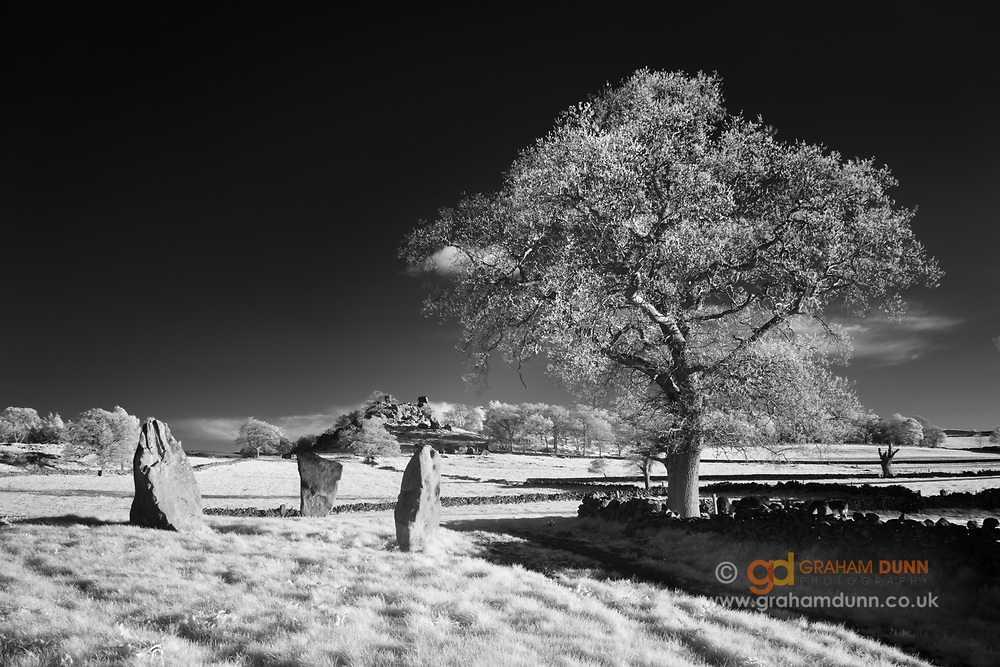 The four remaining stones of Nine Stones Close Bronze Age stone circle on Harthill Moor. Robin Hood's stride can be seen in the distance. Captured in infrared and converted to black & white. White Peak. Peak District National Park, Derbyshire, England, UK.