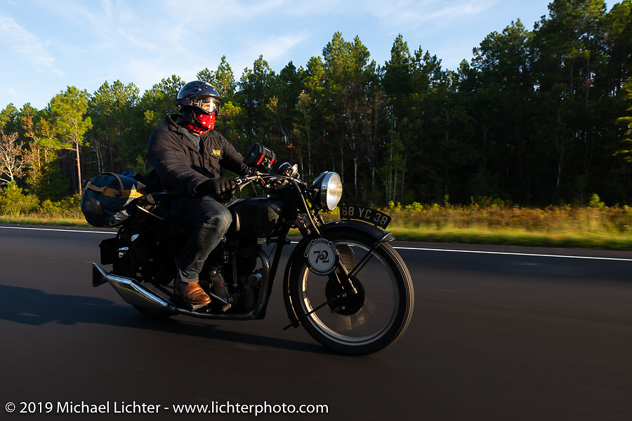 Larry Luce riding his 1938 Velocette KSS in the Cross Country Chase motorcycle endurance run from Sault Sainte Marie, MI to Key West, FL. (for vintage bikes from 1930-1948). 287 mile ride of Stage-8 from Tallahassee to Lakeland, FL USA. Friday, September 13, 2019. Photography ©2019 Michael Lichter.