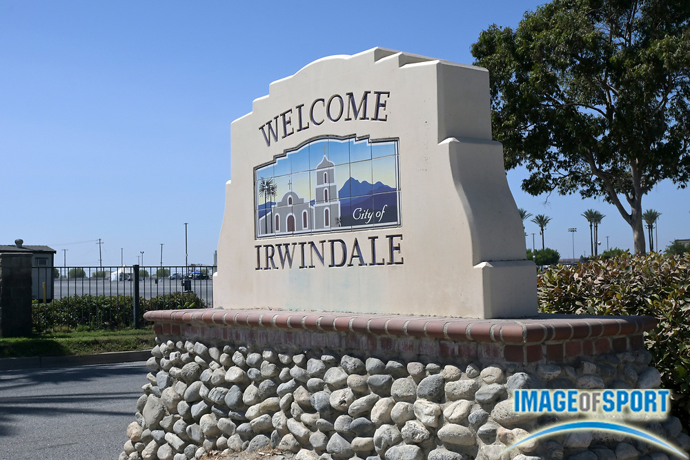 A general view of the Welcome City of Irwindale sign on Live Oak Ave., Sunday, Sept. 20, 2020, in Irwindale, Calif.