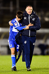 Bristol Rovers manager Graham Coughlan with Lucas Tomlinson of Bristol Rovers - Mandatory by-line: Dougie Allward/JMP - 13/11/2019 - FOOTBALL - Memorial Stadium - Bristol, England - Bristol Rovers v Swindon Town - Leasing.com Trophy
