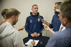 August 28, 2017 - Sofia, BULGARIEN - 170828 Swedish Goalkeeper Robin Olsen meet media at a Mixed Zone arranged by The Swedish Football Association 28 August 2017 in Sofia, Bulgaria. Sweden is preparing for the upcoming World Cup qualifying game between Bulgaria and Sweden on 31 August  (Credit Image: © Nikolay Doychinov/Bildbyran via ZUMA Wire)