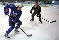 Anze Kopitar and his father and coach Matjaz Kopitar at practice of Slovenian national team at Hockey IIHF WC 2008 in Halifax,  on May 01, 2008 in Forum Centre, Halifax, Canada.  (Photo by Vid Ponikvar / Sportal Images)