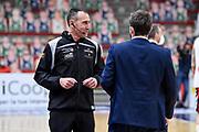 Carmelo Lo Guzzo, Gianmarco Pozzecco<br /> Banco di Sardegna Dinamo Sassari - A|X Armani Exchange Olimpia Milano<br /> Legabasket LBA Serie A UnipolSai 2020-2021<br /> Sassari, 14/04/2021<br /> Foto L.Canu / Ciamillo-Castoria