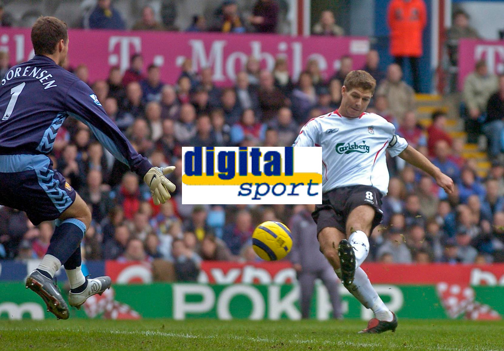 Photo: Glyn Thomas.<br />Aston Villa v Liverpool. The Barclays Premiership. <br />05/11/2005.<br />Liverpool's Steven Gerrard (R) puts the ball in the back of the net but the linesman rules that he was offside.