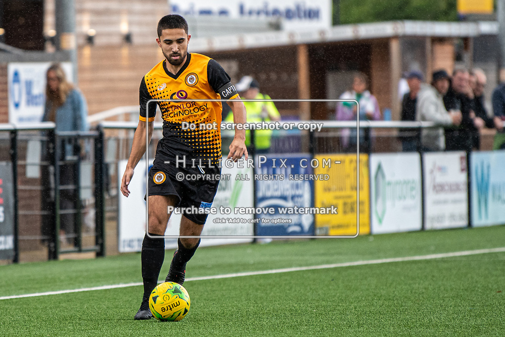 BROMLEY, UK - SEPTEMBER 22: Barney Williams, of Cray Wanderers FC, during the Emirates FA Cup Second Round Qualifier match between Cray Wanderers and Soham Town Rangers at Hayes Lane on September 22, 2019 in Bromley, UK. <br /> (Photo: Jon Hilliger)