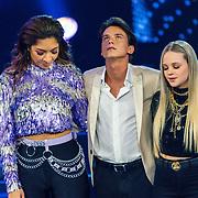 NLD/Hilversum/20200207 - Eerste lifeshow The Voice 2020, April D'Arby,,Sanillo Kuiters en Sophia Kruithof