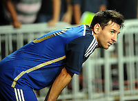 Lionel Messi of Argentina looks on during a friendly football match against Hong Kong in Hong Kong, China, 14 October 2014.<br /> <br /> Lionel Messi needed just six minutes to make his mark in Argentina's 7-0 rout of Hong Kong in a friendly at Hong Kong Stadium on Tuesday (14 October 2014). The Barcelona star Messi scored twice after going on as a substitute for the last 30 minutes of the game to celebrate the 100th anniversary of the Hong Kong Football Association. Napoli striker Gonzalo Higuain and Benfica's Nicolas Gaitan also scored two goals each after Sevilla's Ever Banega had opened scoring in the 19th minute.