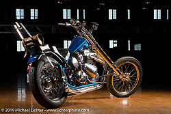 James Balestrieri's custom 1957 Ariel Square Four chopper at the Mama Tried Show. Milwaukee, WI. USA. Sunday February 25, 2018. Photography ©2018 Michael Lichter.