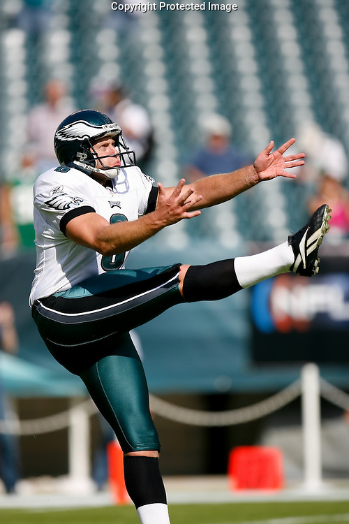 21 Sept 2008: Philadelphia Eagles punter Save Rocca #6 warms up before the game against the Pittsburgh Steelers on September 21st, 2008.  The Eagles won 15-6 at Lincoln Financial Field in Philadelphia Pennsylvania.