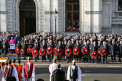 © Licensed to London News Pictures. 10/11/2019. London, UK. Politicians attend the Remembrance Sunday ceremony at the Cenotaph memorial in Whitehall, central London. Remembrance Sunday is held each year to commemorate the service men and women who fought in past military conflicts. Photo credit: Dinendra Haria/LNP