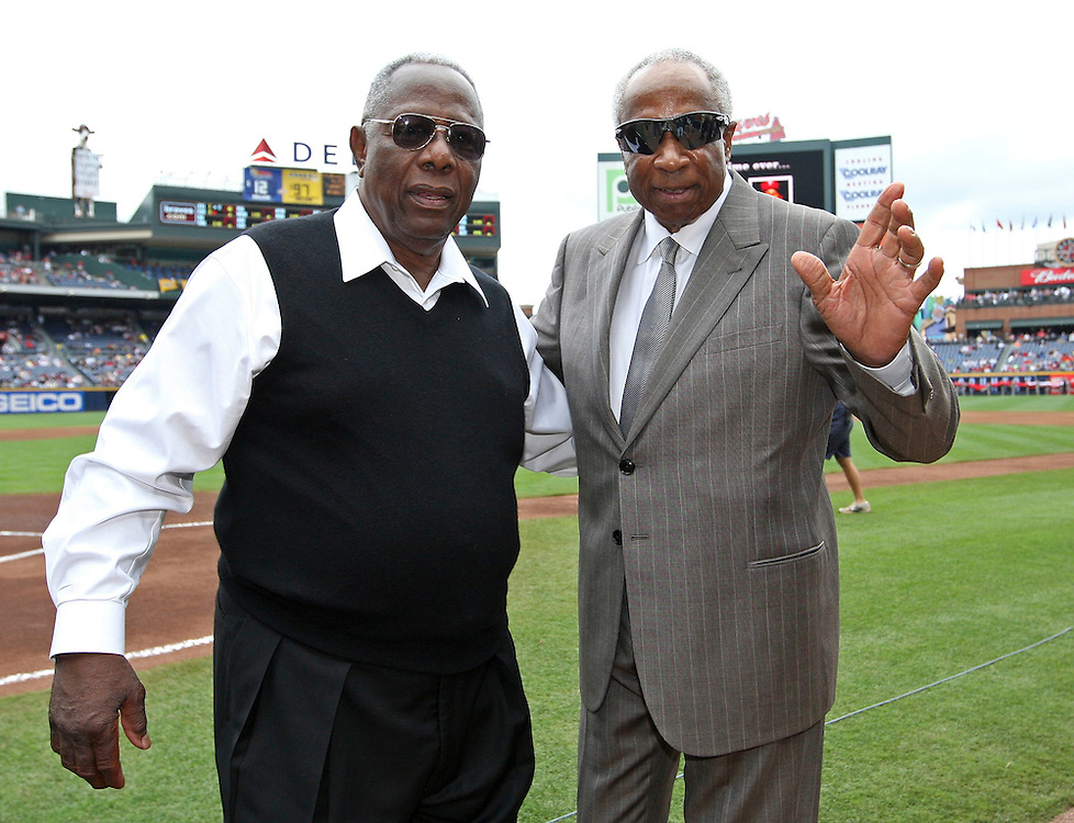 ATLANTA - MAY 15:  Hall of Famers Hank Aaron (left) and Frank Robinson  attend the MLB Civil Rights Game between the Philadelphia Phillies and the Atlanta Braves on Sunday, May 15, 2011 at Turner Field in Atlanta, Georgia.  (Photo by Mike Zarrilli/MLB Photos via Getty Images)