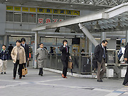 commuters outside the train station in Yokosuka City