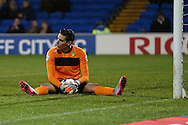 Leeds goalkeeper Marco Silvestri holds onto the ball after making a save. . Skybet football league championship match, Cardiff city v Leeds Utd at the Cardiff city stadium in Cardiff, South Wales on Tuesday 8th March 2016.<br /> pic by  Andrew Orchard, Andrew Orchard sports photography.