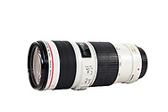 The Canon EF 70-200mm f/4L IS USM Zoom Lens on a white background