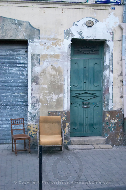 An old door in the old town. Bordeaux city, Aquitaine, Gironde, France
