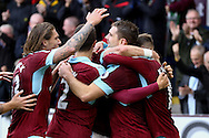 Sam Vokes of Burnley (2r) celebrates with his teammates after scoring his teams 1st goal. Premier League match, Burnley v Everton at Turf Moor in Burnley , Lancs on Saturday 22nd October 2016.<br /> pic by Chris Stading, Andrew Orchard sports photography.