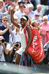 July 14, 2017 - Wimbledon, England, U.K. - A jubilant VENUS WILLIAMS goes into the Wimbledon Tennis Championships finals after a smooth defeat of Konta. Williams records 6-4, 6-2 victory to reach her ninth final at Wimbledon. (Credit Image: © Panoramic via ZUMA Press)