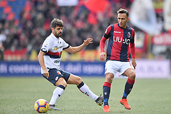 "February 10, 2019 - Bologna, Italia - Foto Massimo Paolone/LaPresse.10 febbraio 2019 Bologna, Italia.sport.calcio.Bologna vs Genoa - Campionato di calcio Serie A TIM 2018/2019 - stadio ""Renato Dall'Ara"".Nella foto: Simone Edera (Bologna F.C.) in azione contrastato da Daniel Bessa (Genoa CFC) ..Photo Massimo Paolone/LaPresse.February 10, 2019 Bologna, Italy.sport.soccer.Bologna vs Genoa - Italian Football Championship League A TIM 2018/2019 - ""Renato Dall'Ara"" stadium..In the pic: Simone Edera (Bologna F.C.) competes for the ball with Daniel Bessa  (Credit Image: © Massimo Paolone/Lapresse via ZUMA Press)"