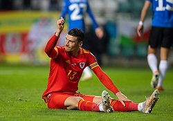 TALLINN, ESTONIA - Monday, October 11, 2021: Wales' Kieffer Moore during the FIFA World Cup Qatar 2022 Qualifying Group E match between Estonia and Wales at the A. Le Coq Arena. Wales won 1-0. (Pic by David Rawcliffe/Propaganda)