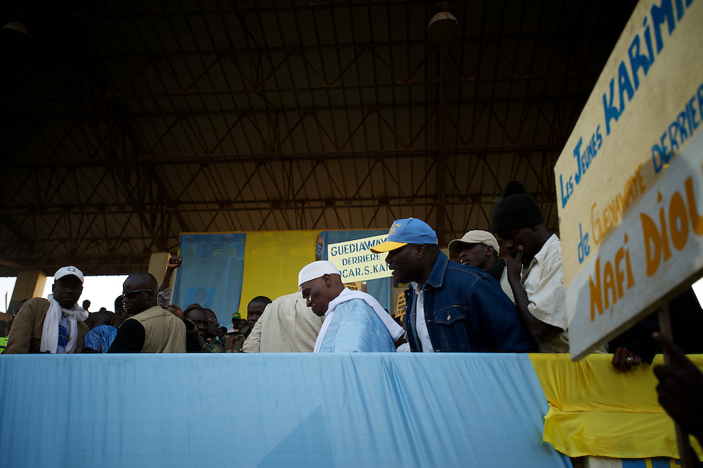 February 22, 2012 - Dakar, Senegal: Senegalese president Abdoulaye Wade prepares to address a crowd of towsands during a campaign rally in Pykine, a suburb of the capital Dakar, ahead of the presidential elections on the 26th of February.  (Paulo Nunes dos Santos/Polaris)